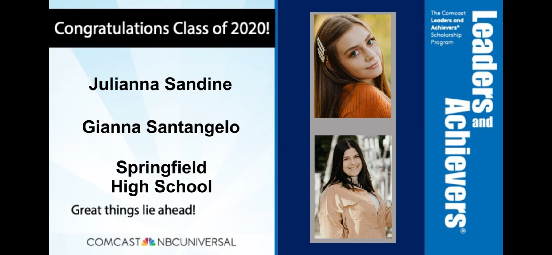 Class of 2020 Scholarship awarded to Julianna Sandine and Gianna Santangelo