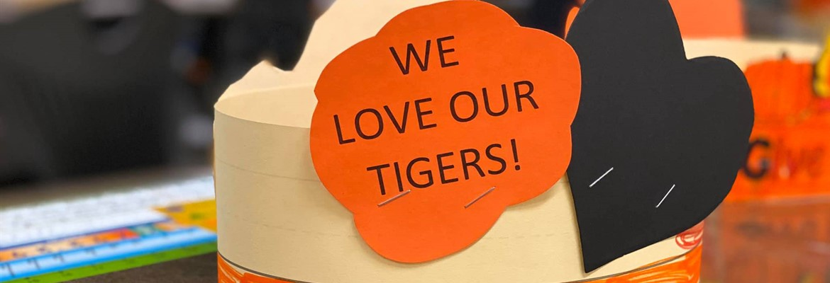 We Love Our Tigers hat made by a third grade student.