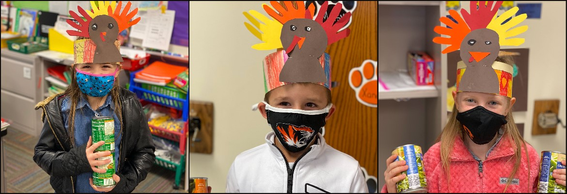 Photo collage, three photos of student wearing turkey hats and holding cans of food donations.