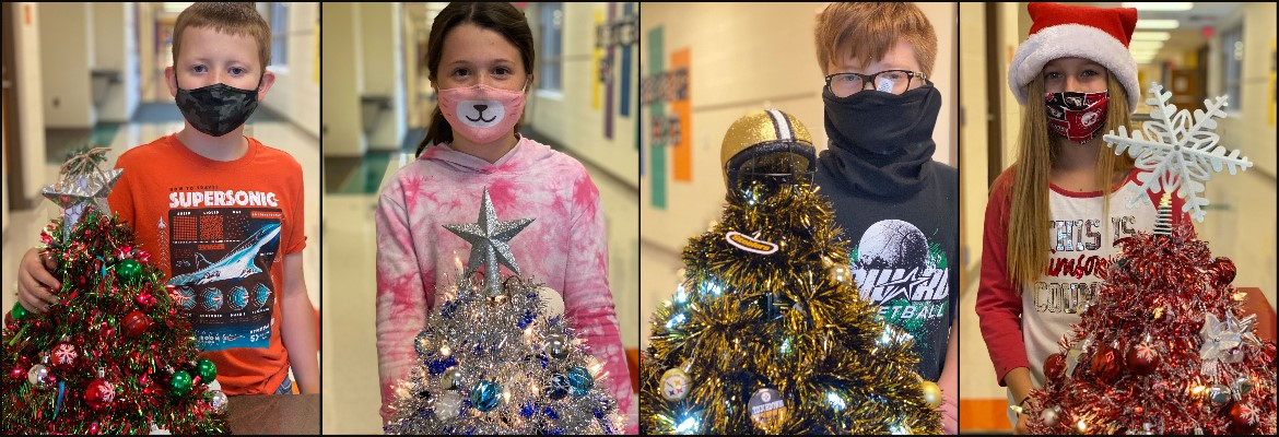 Photo collage, four photos of students with Christmas Trees